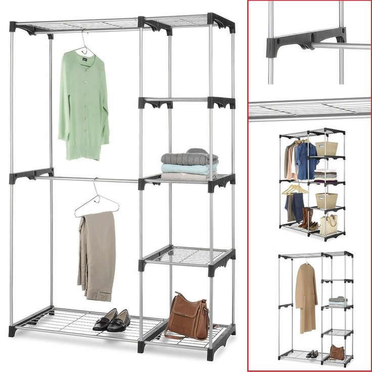 Free Standing Closet Silver Steel & Resin Frame Clothes Storage Rack Organizer #FreeStandingCloset