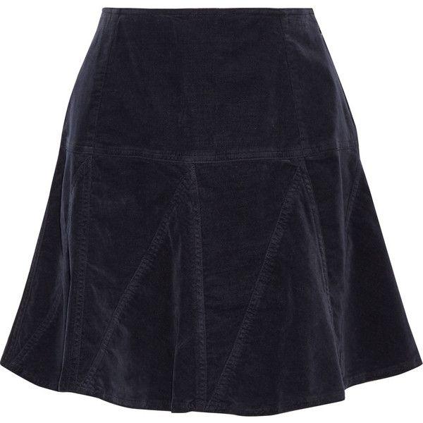 Tomas Maier Cotrton-blend velvet mini skirt (€205) ❤ liked on Polyvore featuring skirts, mini skirts, velvet, midnight blue, tomas maier, blue skirt, short skirts, short blue skirt and mini skirt