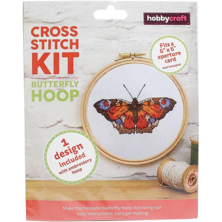 Butterfly Cross Stitch Hoop Kit | Hobbycraft