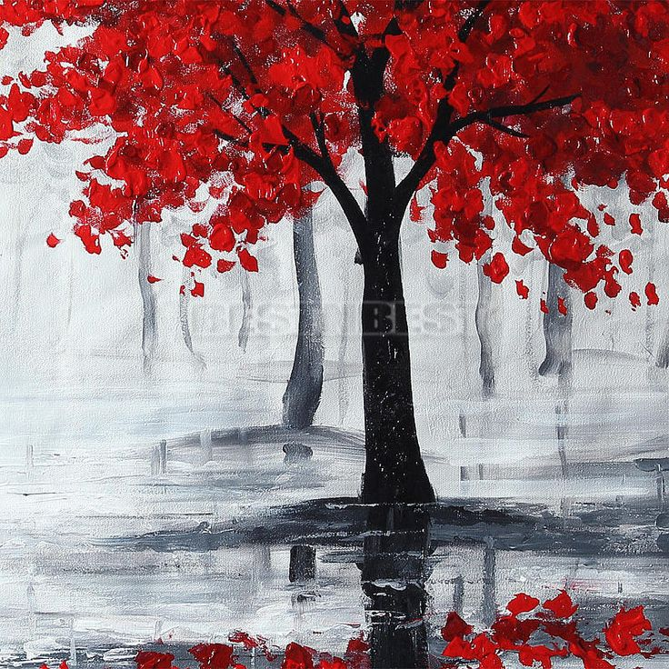 Large Modern Abstract Red Black Tree Hand-paint Oil Paintings Canvas Art Decor | eBay