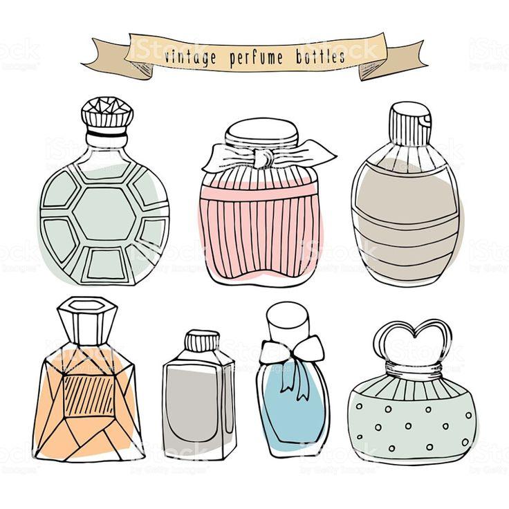 Hand drawn perfume bottles set collection vintage perfume