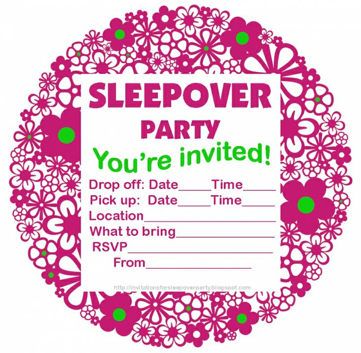 girls sleepover party invitations