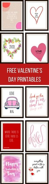 FREE Valentine's Day printables. Perfect to be used for gifts, valentines or home decorating!