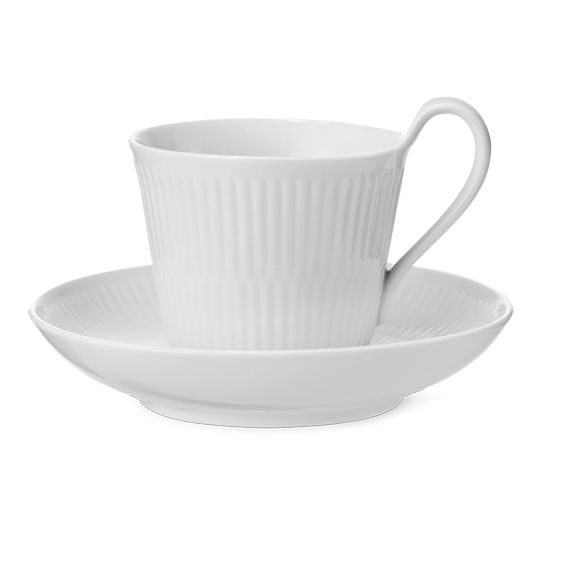 Royal Copenhagen White Fluted High handle cup & saucer 25 cl