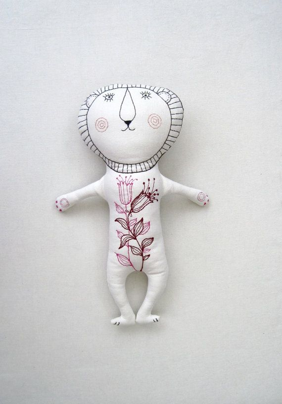 White Lion /embroidery/  soft plush toy/ modern toy /hand made toy /softie / room decor/ African /soft toy animal