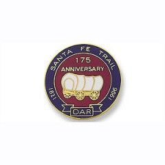 1821 Santa Fe Trail - A 19th century transportation route through Central North America that connected Franklin, MO and Santa Fe, NM and pioneered by William Becknell. DAR PIN COMMEMORATING the 175th anniversary of the Commencement of the Trail.