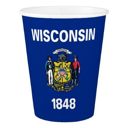 Patriotic paper cup with Wisconsin Flag - paper gifts presents gift idea customize