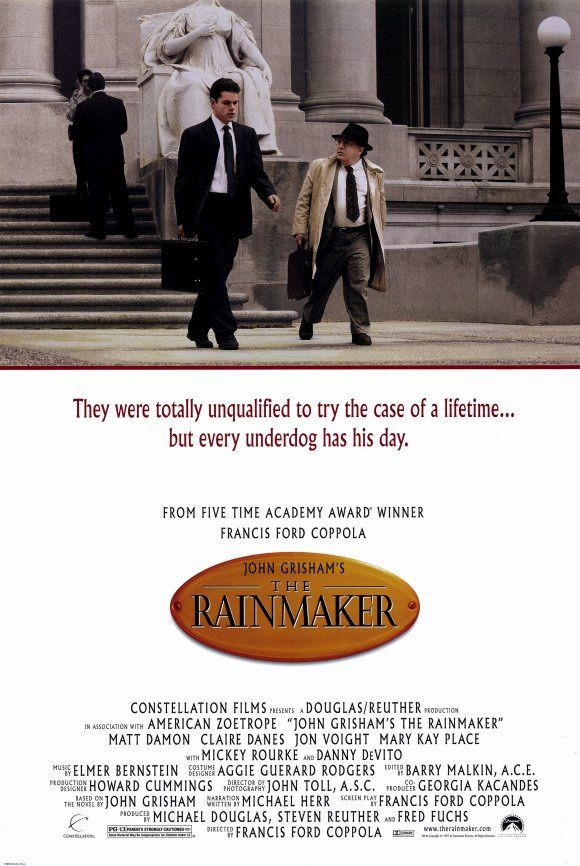 The Rainmaker , starring Matt Damon, Danny DeVito, Claire Danes, Jon Voight. An idealistic young lawyer and his cynical partner take on a powerful law firm representing a corrupt insurance company. #Crime #Drama #Thriller
