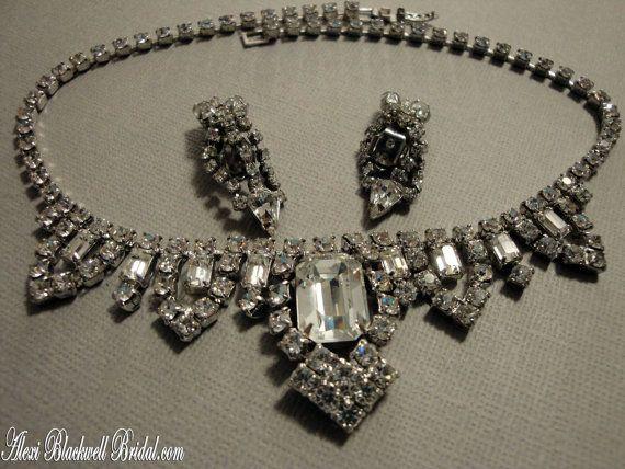 Vintage Princess Grace Bridal Necklace Set by AlexiBlackwellBridal, $89.00Diamonds Jewelry, Princesses Grace, Antiques Jewelry, Vintage Princesses, Bridal Necklaces Sets, Costumes Jewelry, Bridal Jewelry, Gorgeous Bridal, Vintage Jewelry