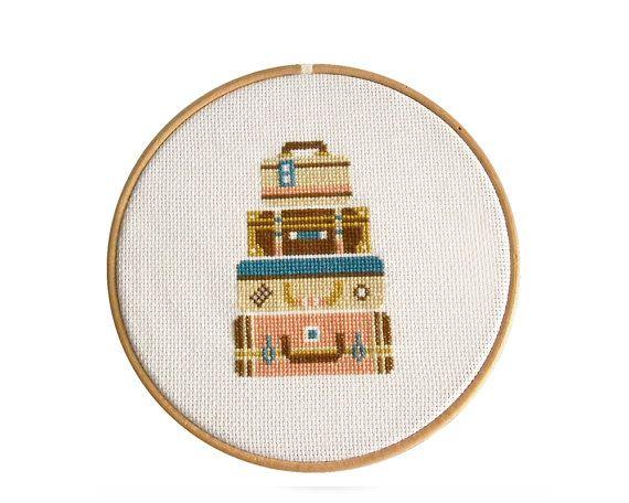 """Cross Stitch Pattern PDF, """" Bone Voyage"""" Counted Cross Stitch Pattern, Modern Cross Stitch"""