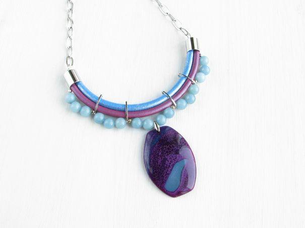 """Ручная работа Колье """"Голубое озеро"""" купить ожерелье из натуральных камней, Ирина Моро"""