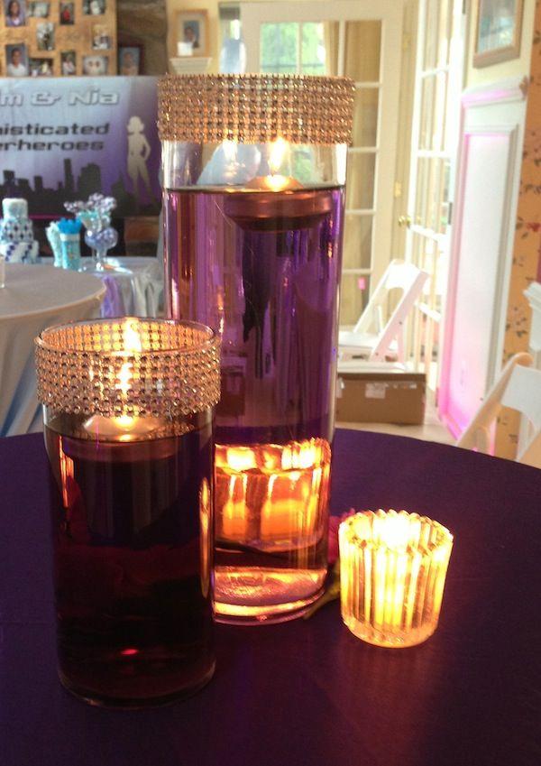 Purple tinted water centerpiece