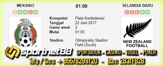 Prediksi Skor Bola Meksiko vs Selandia Baru 22 Jun 2017 Piala Confederations di Olimpiyskiy Stadion Fisht (Sochi) pada hari Kamis jam 01:00 live di RTV