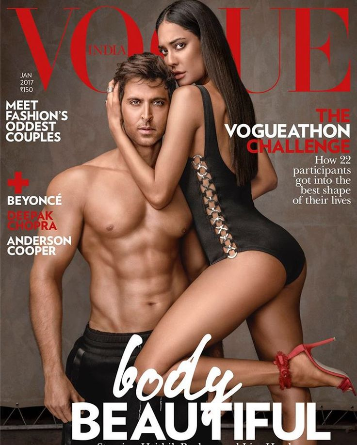Hrithik Roshan and Lisa haydon on the cover of Vogue India #hrithikroshan #lisahaydon #vogueindia #bikini