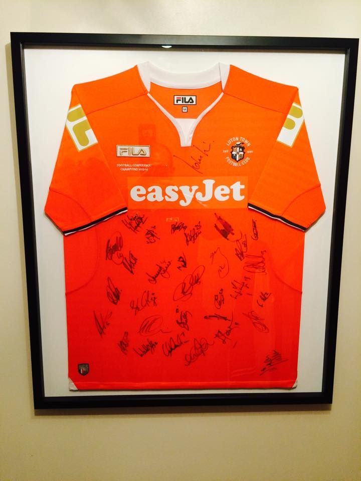 Signed football shirt framed by madboxes picture framing