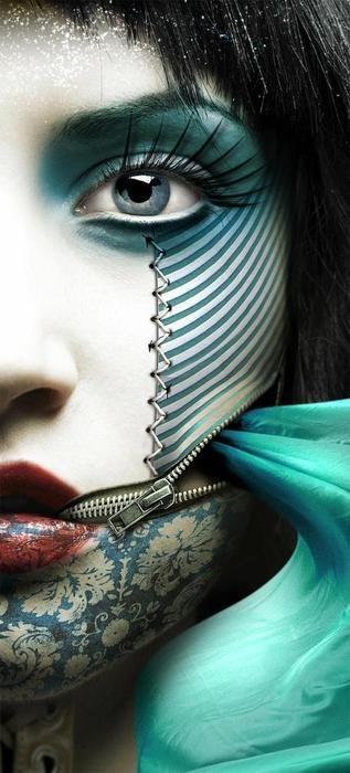 Crazy makeup: Faces Art, Blue Green, Fashion Week, Digital Art, Photo Manipulation, Photomanipul, Zippers, Eyes, Crazy Makeup