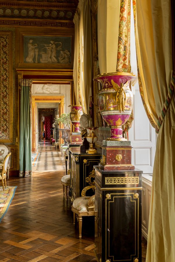 Light coming in through enfilade of rooms. Château Champ de Bataille. by Jacques Garcia