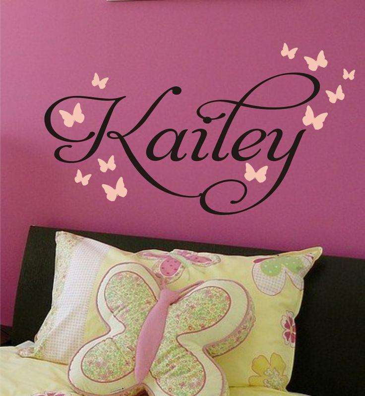 Katy's room - Butterfly Nursery Monogram Vinyl Decal - Vinyl Lettering great for Baby Girl, Toddler, Teen Bedroom - Vinyl Wall Art. $18.00, via Etsy.