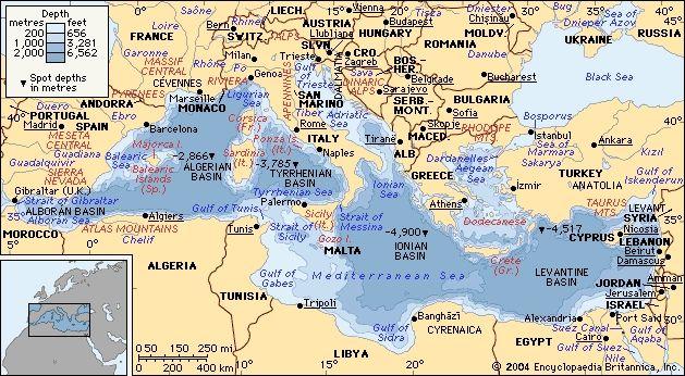 Ancient Mediterranean Map sea depth map of the mediterranean ...