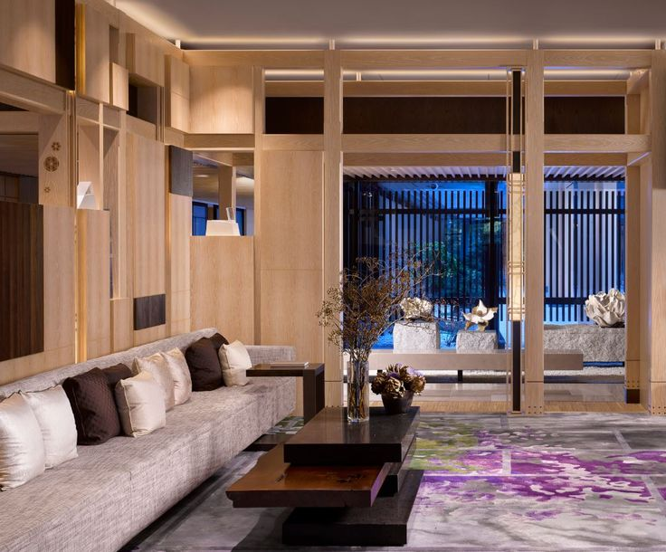 lobby library of the four seasons kyoto by hba design