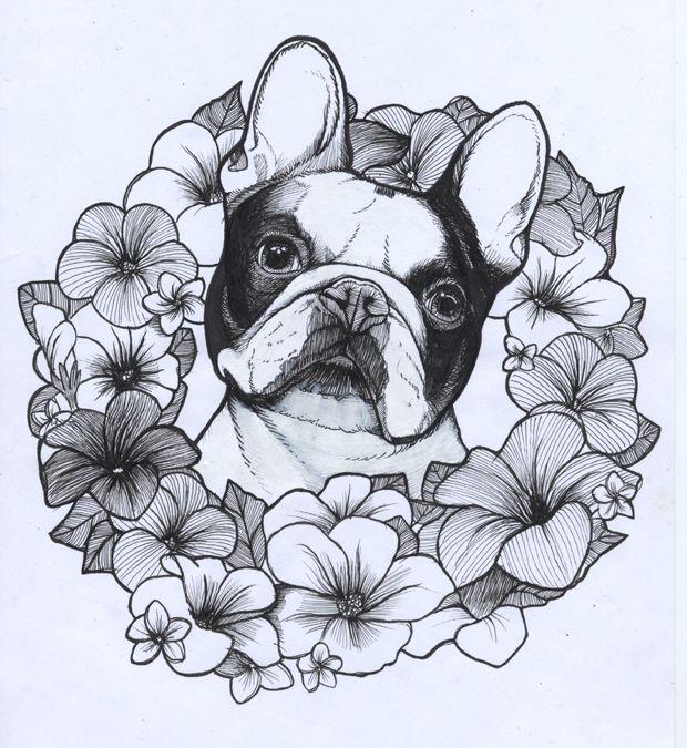 French Bulldog , Summer , Frenchie , Flowers , The dog painter , Jeroen Teunen , Teunen