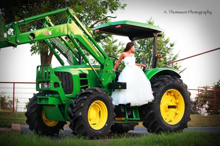 bride, bridal, john deere, tractor, wedding