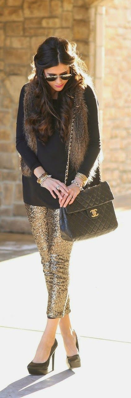 Sequin leggings and faux fur vest