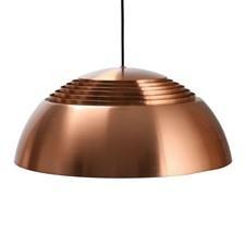 Arne Jacobsen Pendant Provenace: SAS Royal Hotel Height: 22 cm Diameter: 50 cm Materials: Copper Manufacturer: Louis Poulsen
