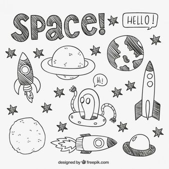 Dibujado a mano elementos de espacio