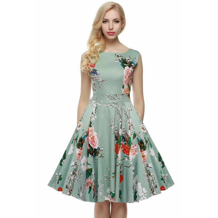 ACEVOG Women Dress Retro Vintage 1950s 60s Rockabilly Floral Swing Summer Dresses Elegant Bow-knot Tunic Vestidos Robe Oversize. Click visit to buy