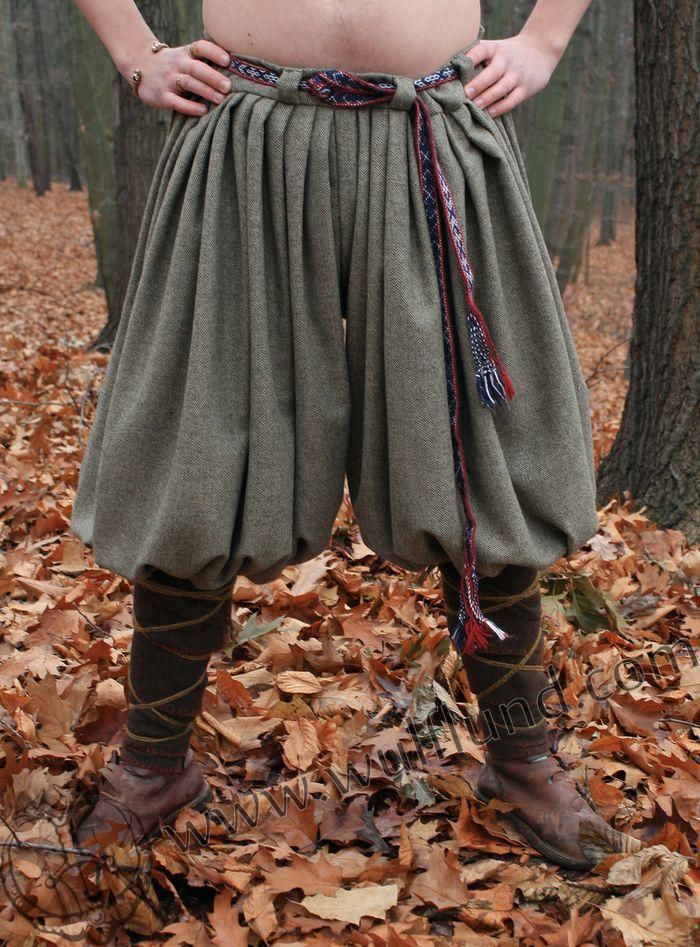Woolen viking pants, exact reconstruction of pants found in Birka (Sweden), used mainly by Swedish vikings called Varangians in the East. The amount of woolen cloth used reflects something about wealth of their owner. These trousers offer very comfortable wearing. All visible stitches are hand sewn with linen thread. We are supplying them in these sizes S, M, L, XL. Material: woolen, linen.