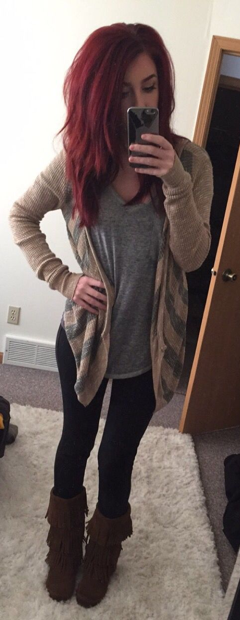 Minnetonka fringe boots casual outfit for fall or spring                                                                                                                                                                                 More