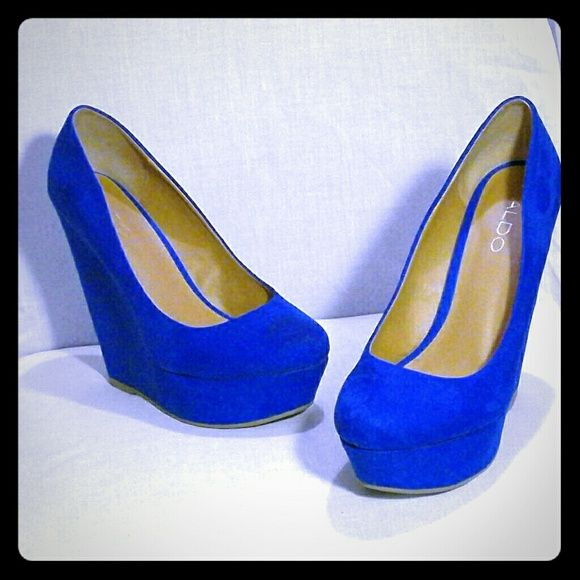 Royal Blue Aldo Wedges 5.5 inch heel, 1.5 inch platform. Worn once but in excellent condition ALDO Shoes Wedges