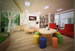 Desain ruangan kantor berwarna cerah menghidupkan suasana dan dapat meningkatkan efektivitas karyawan.