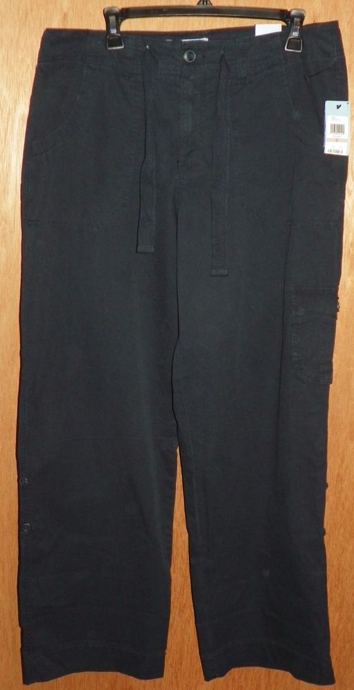 Izod Navy Blue Chino Pants with Zipper Drawstring Waist Womens Size 12 NEW #IZOD #Chinos