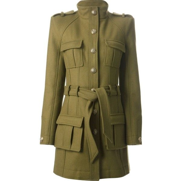 BALMAIN safari coat (£1,292) ❤ liked on Polyvore featuring outerwear, coats, balmain, jackets, safari coat, short coat, balmain coat and long sleeve coat