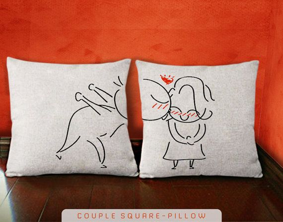 A Big Kiss Couple Pillow Cover  His and Hers Pillow  by KOKONOKI