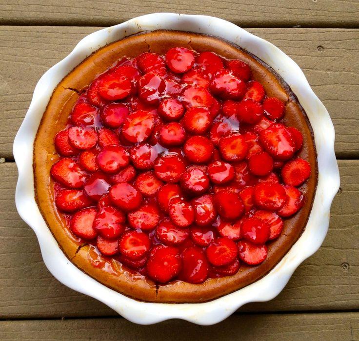 Strawberry Cheesecake with a Chocolate Graham Cracker Crust - Strawberry Dessert [TheNewlywedPilgrimage.com]