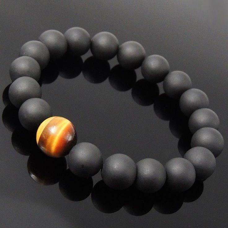 Handmade Men/Women Bracelet Matte Black Onyx Tiger Eye Gemstone Beads Stretch #DIYKAREN #MenWomenGemstoneBracelet