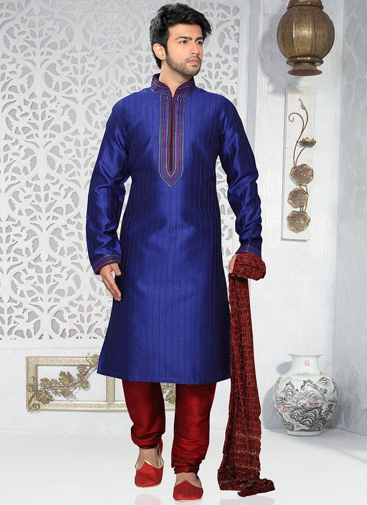 Buy Brilliant Blue Art Silk Kurta Pyjama online from the wide collection of kurta-pyjama.  This Blue colored kurta-pyjama in Art Silk fabric goes well with any occasion. Shop online Designer kurta-pyjama from cbazaar at the lowest price.