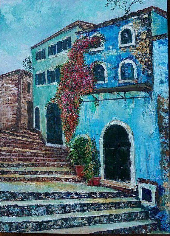 Greek Village Living Room Decor Original Painting Modern Wall Art
