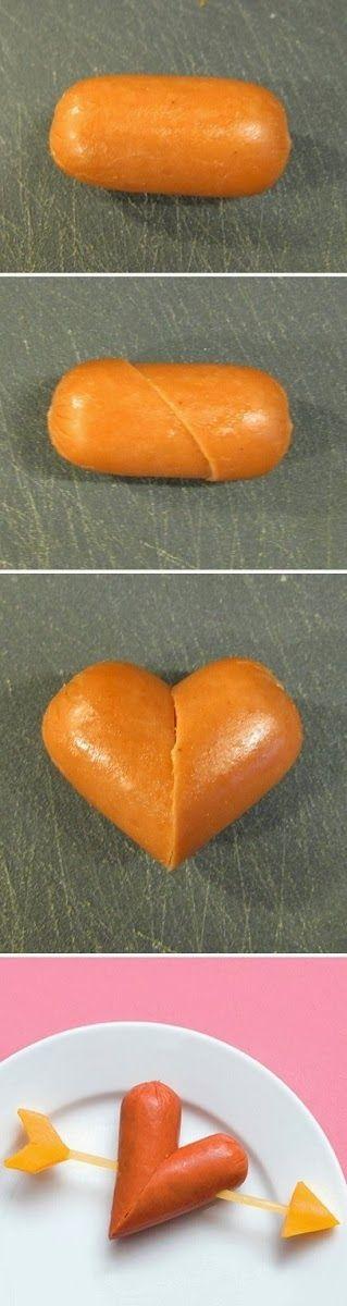 Bocadillos para San Valentin, Como Hacer Corazones de salchicha