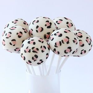 Eight Leopard Print Cake Pops - food & drink