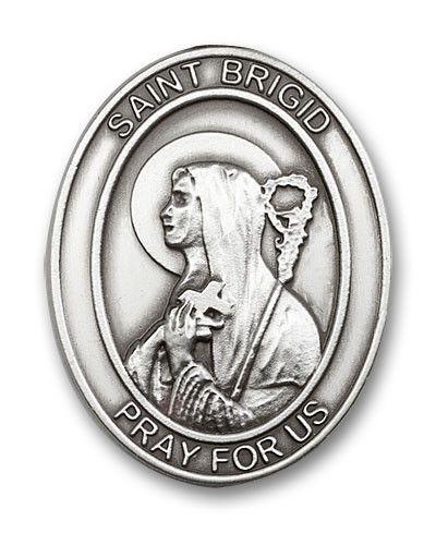 Antique Silver Finish St. Brigid of Ireland Visor Clip, Patron Saint of Infants and Ireland