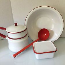 Vintage ENAMELWARE White Red Double Boiler Wash Bowl HYPOTHECARY Ladle