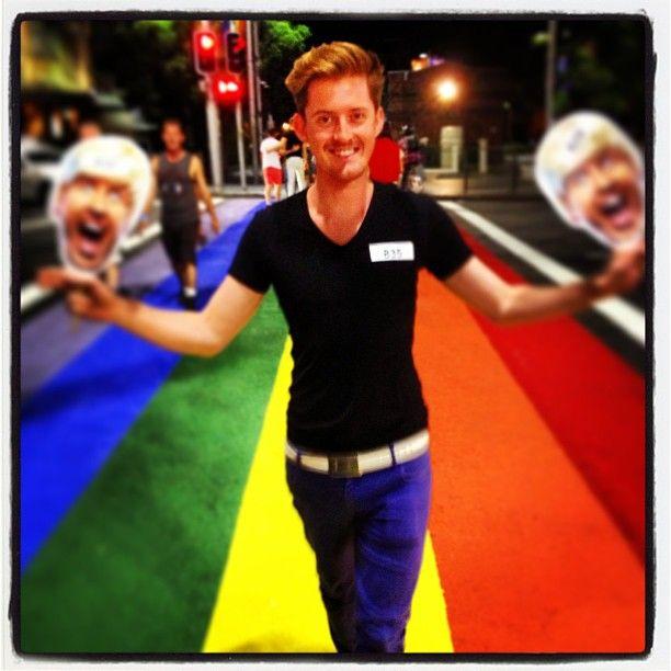 Rainbow crossing trumps zebra crossings for all time. #sydneymardigras #gay100 #mardigras