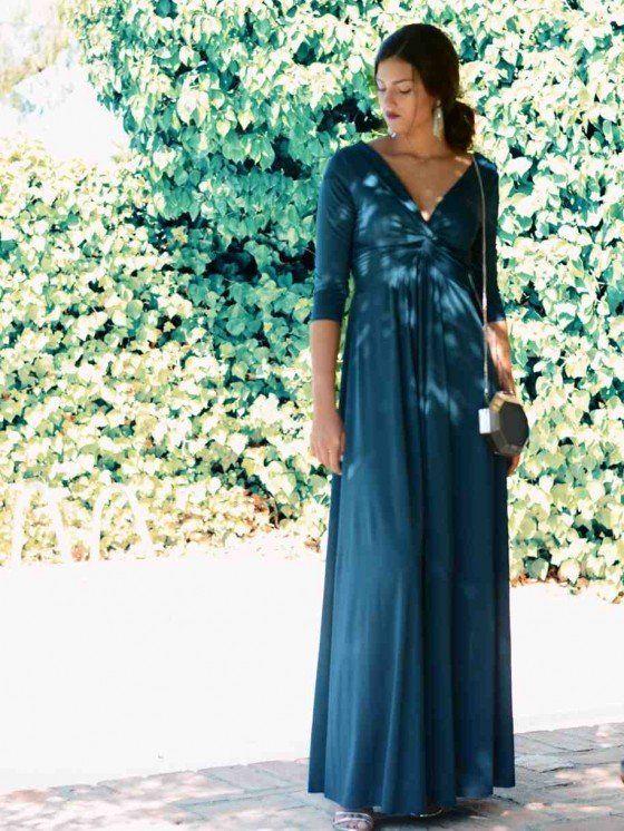 71125cf4a Vestido Adriana Autumn, vestido de fiesta largo, azul petróleo, Mariquita  Trasquilá