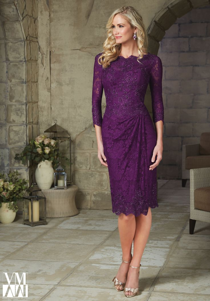 Evening Gowns and Mother of the Bride Dresses by MGNY Beaded Appliques on Allover Lace Available in Teal, Purple