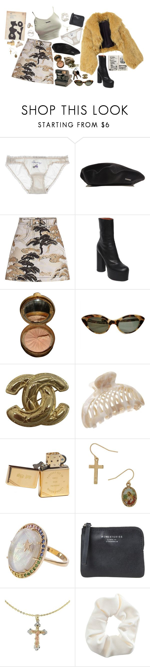 """""""material girl"""" by notacowboy ❤ liked on Polyvore featuring STELLA McCARTNEY, kangol, Louis Vuitton, Vetements, Gucci, Polaroid, Chanel, France Luxe, Zippo and Andrea Fohrman"""