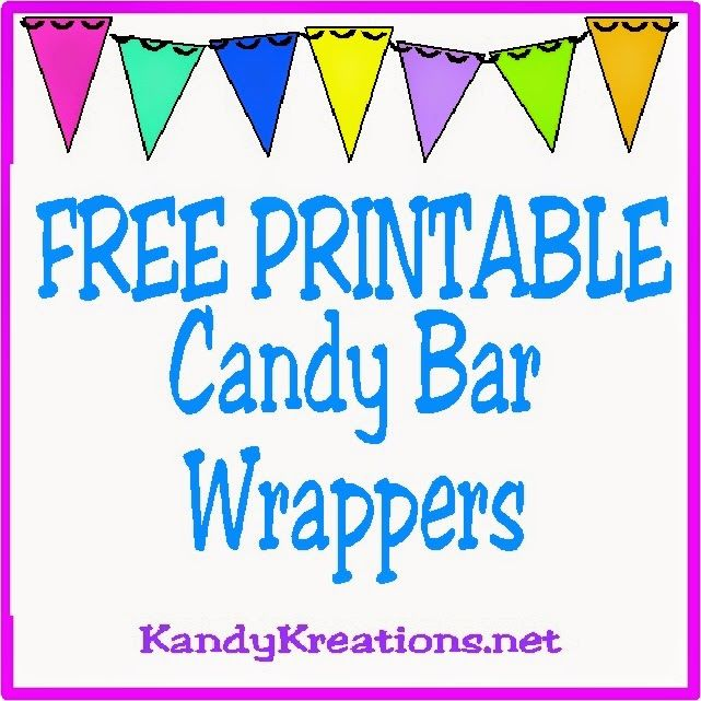 Kandy Kreations: 10 Printable Candy Bar Wrappers These are some great free printables to wet your appetite for all the great printable candy bar wrappers we have in our club. Now that you have all those candy bar wrappers, make sure you wrap them up as beautiful as the wrappers themselves.  Here's a quick and easy tutorial on how to do that.